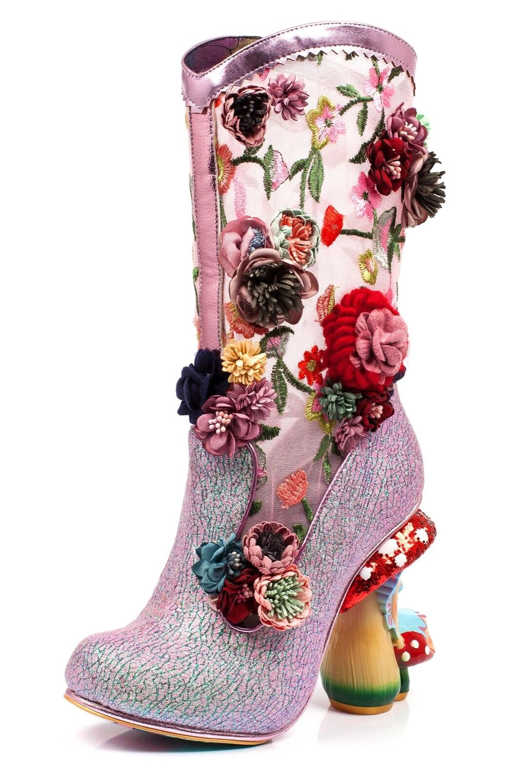 Irregular Choice NEW Angelica Pearson pink floral toadstool high heel boots