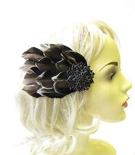 Marineblau Schwarz Mallard Entenfeder Haar-clip Fascinator Vintage Rennen 40s