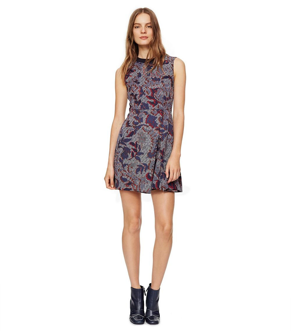 NEW TORY BURCH NAVY DAHLIA FIT & & & FLARE DRESS PRINTED CREPE STRETCH JACQUARD 10 710211
