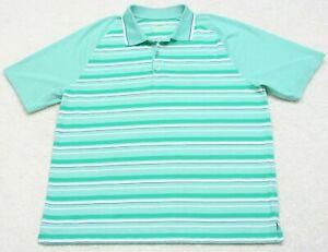 Izod Golf Polo Shirt Short Sleeve XXL Man's 2XL 3-Button Green White Striped Men