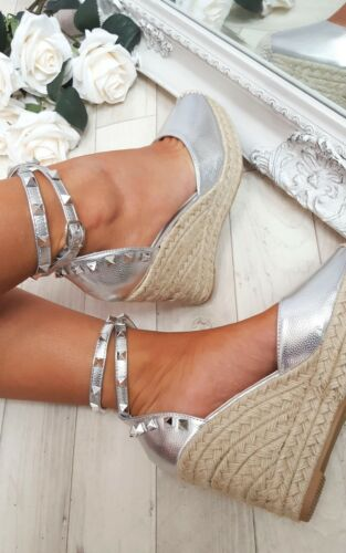 LADIES COMY PLATFORM WEDGE HEEL ESPADRILLES WOMENS BEACH HOLIDAY ANKLE SHOES SZ