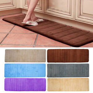 Bath Rug Non Slip Absorbent Memory Foam Bathroom Carpet Shower Floor Mat Pads
