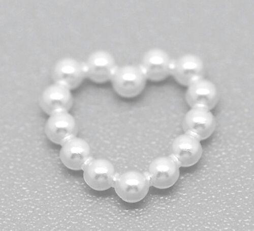 Wholesale Lots Craft White Acrylic Pearl Heart Embellishments Wedding 11x11mm