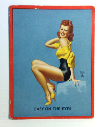 1940s Pinup Girl EARL MORAN Blotter Card Easy On The Eyes Red Hair Heels Art