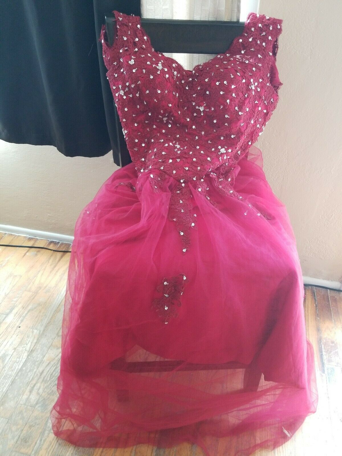 Burgundy ball gown - image 1