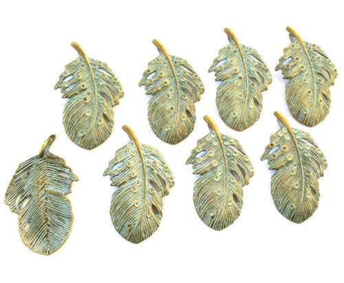 8PCS Green Patina on Brass feather charms-Pendant Beading Supplies
