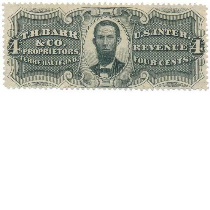 U.S. Internal Revenue 4c RS27a T. H. Barr & Co. 4c blac