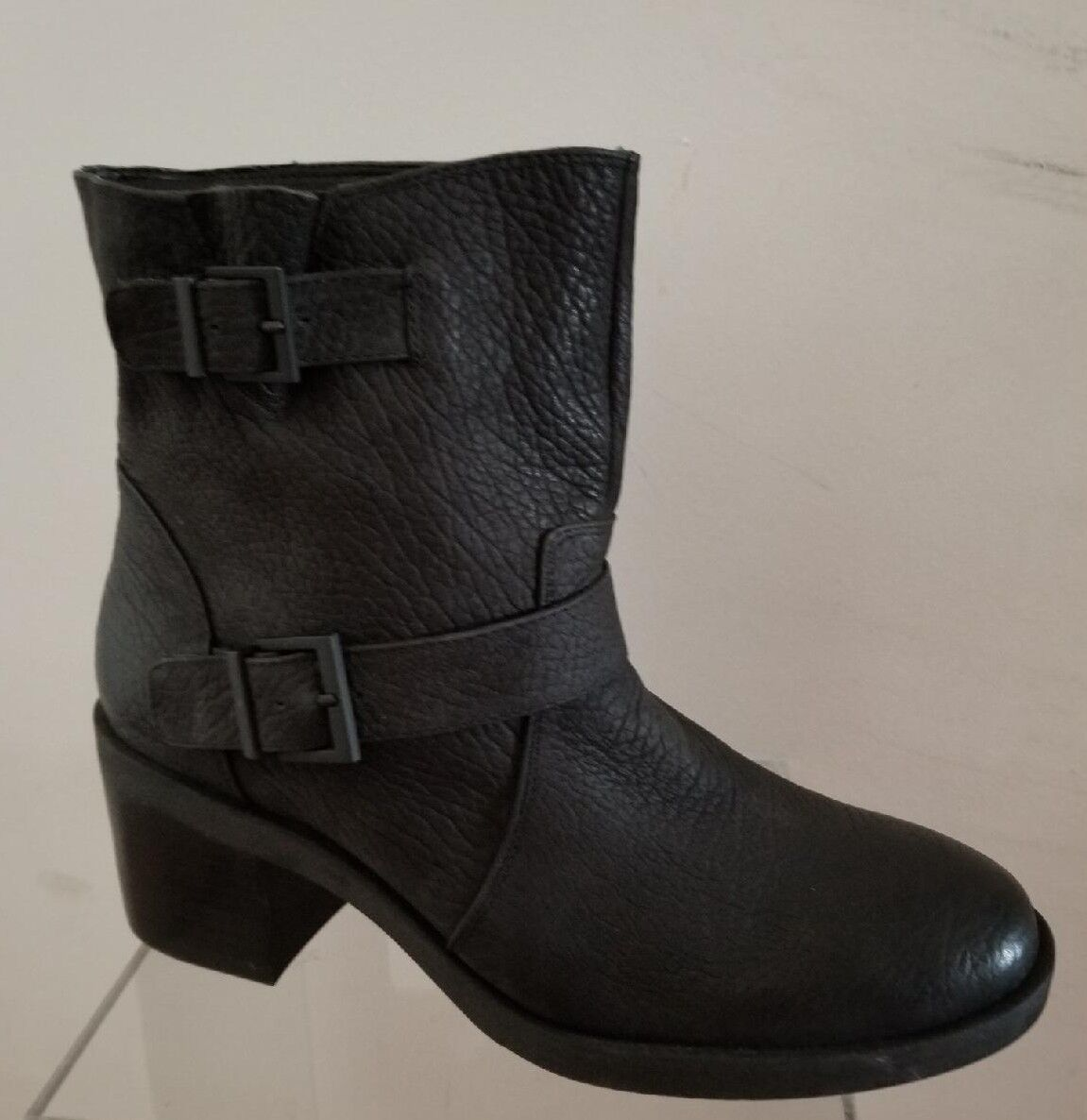 NEW KENNETH COLE REACTION  BLACK LEATHER ANKLE BOOTS US 10M