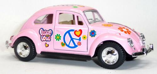 VW Käfer 1967 hellrosa mit Hippie-Aufdruck Modellauto ca 1:32 = 12,5cm KINSMART