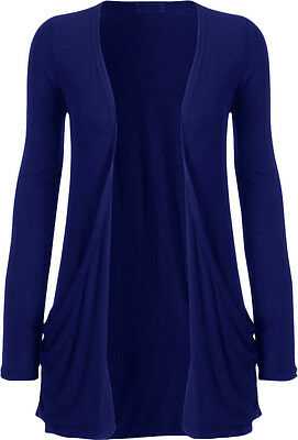 Womens Plus Size Boyfriend Cardigan Long Sleeve Jumper Pocket Cardigan Top