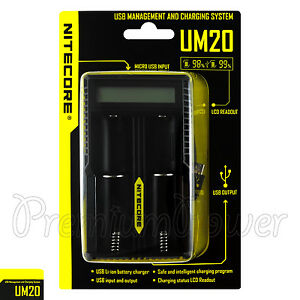Nitecore UM20 18650 14500 IMR Li-ion Rechargeable USB Digital Battery Charger