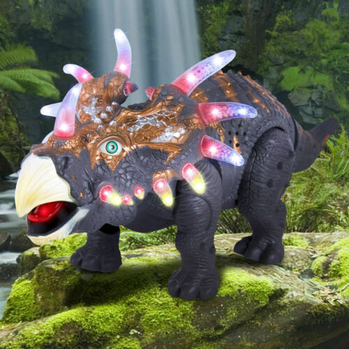 Triceratops Dinosaur Toy for Kids Lights Sounds Real Movement Loud Roar Gift Box