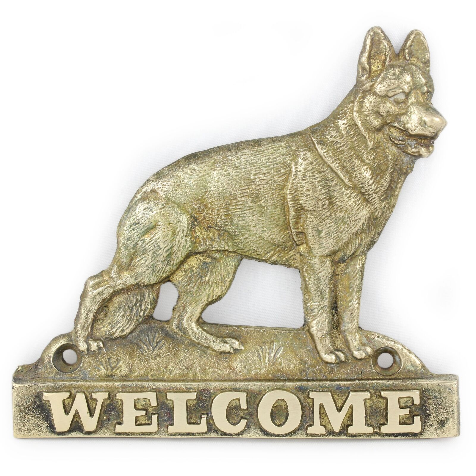 German Shepherd - brass tablet with image of a dog, Art Dog
