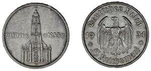 5-REICHSMARK-GERMANY-5-MARCOS-ALEMANIA-IGLESIA-POTSDAM-CHURCH-1934-D-XF-EBC