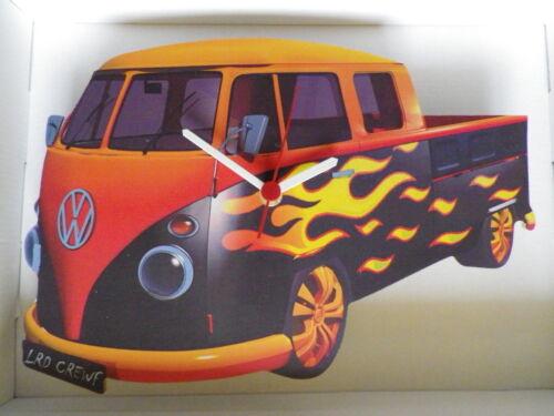 NEW /& BOXED Flammes Surf Lit Plat Design Classique VW Camper Van Horloge Murale