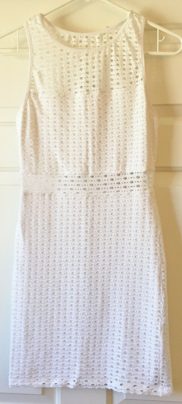 Eight Sixty Women's Sleeveless Eyelet Bodycon Dress White Small - MSRP  88