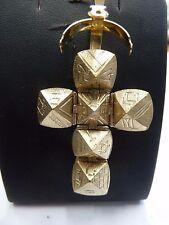 Vintage 9ct Gold & Silver Large Opening Masonic Ball Cross Pendant  9.3 g 1973
