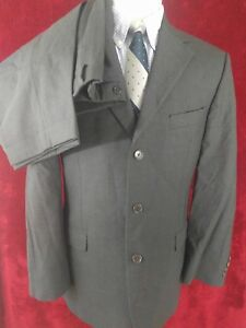Brooks-Brothers-346-Mens-Suit-41R-33x31-Pleated-Cuffed-Three-Button-Gray-Wool