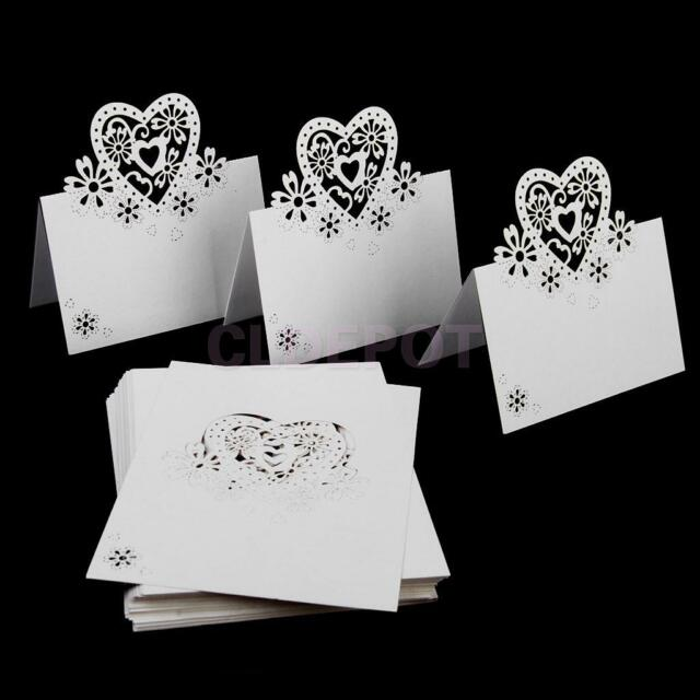 50pcs Ivory Wedding Table Place Name Cards Hollow Heart Party Decor Lasercut