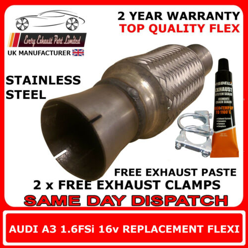 Audi A3 1.6FSi 2004-08 Exhaust Replacement Flex Flexi Pipe for Catalytic Pipe