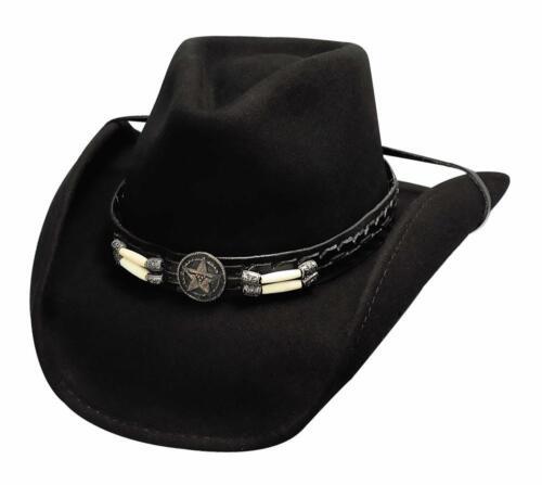 Nouveau BULLHIDE Chapeaux 0445Bl COW-BOY collection Skynard Noir Chapeau de cowboy