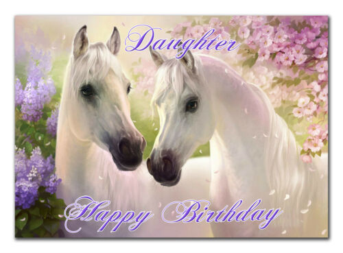 c152; Large Personalised Birthday card; Custom made for any name; Horses Pony