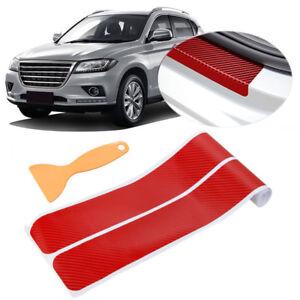 4x-Rot-Kohlefaser-Einstiegsleisten-Stossstange-Ecke-Guard-Schutzfolie-Aufkleber-Q