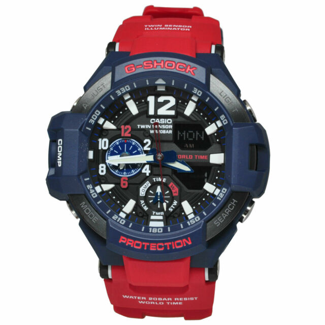 NEW Casio G-Shock GA1100-2A Men's Quartz World Time Red Resin Band 52mm Watch