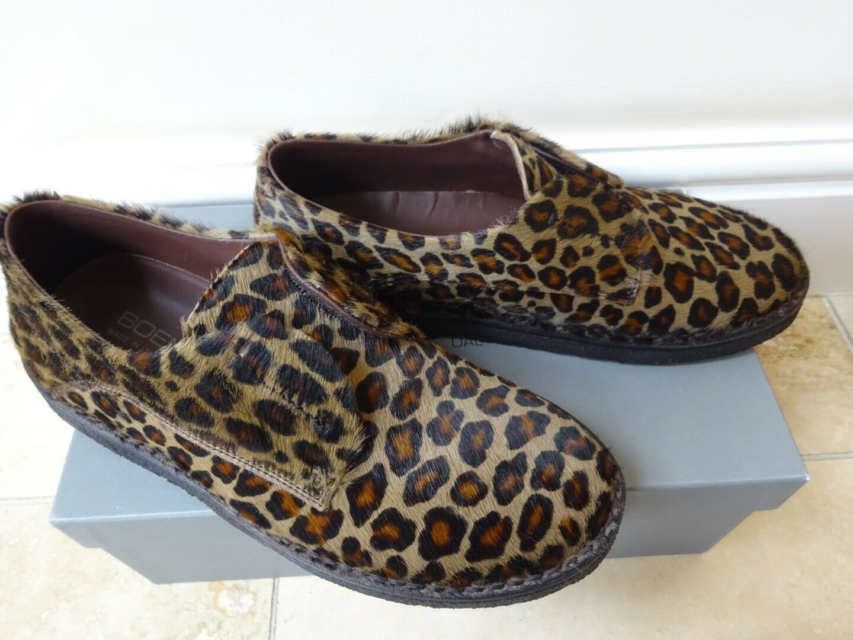 New Boemos ladies sneakers slip on loafers Leather Hide brown leopard print EU38