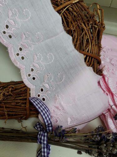 """Arcos de cinta y encaje ~ ~ 3/""""//75mm Rosa Bebé en encaje inglés ajuste del cordón plano de algodón"""