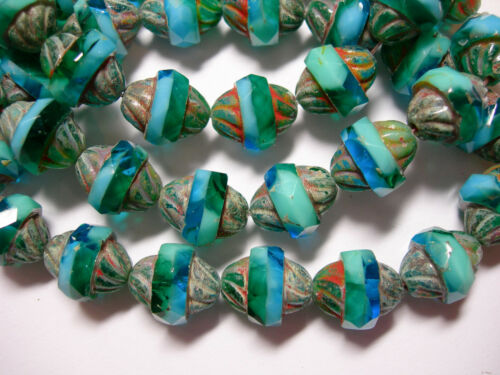 Capri Blue Blend Picasso Turbine Beads 15 12x10mm Czech Glass Faceted Turquoise