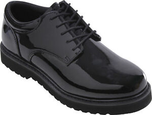 Image is loading Mens-Black-Shiny-Uniform-Oxford-Shoes-with-Work- 7a4996aed34