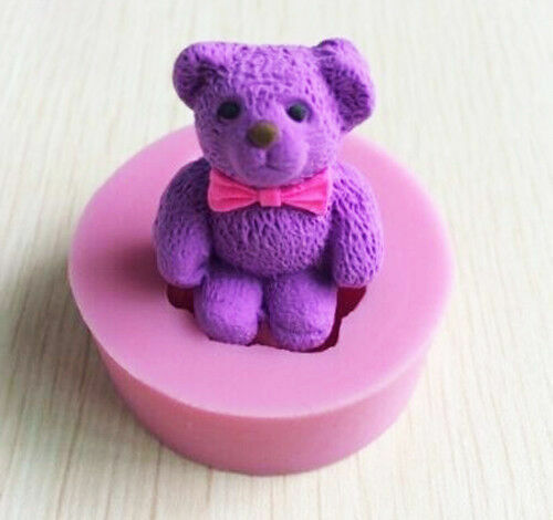3D Teddy Bear Silicone Soap Mold Fondant Cake Decorating Candle Mould Tools