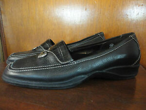 b2bbb7f7a69 Lovely Women s CROFT   BARROW Black Leather Slip On Loafer Shoes ...