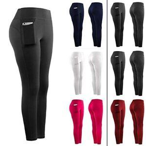 Women-Stretch-Yoga-Leggings-Fitness-Running-Gym-Sports-Pockets-Active-Pants-DZ