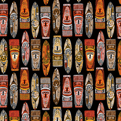 Vintage Hawaiian Aloha Shirt Tiki Mask Pattern Club Big And Tall Mens Clothing