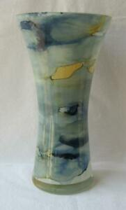 Italian Art Glass Vase Franco Italy Pastel Blue Yellow No 35 Mother's Day Gift