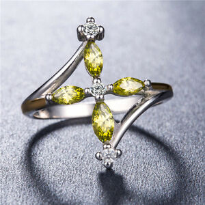 Pretty-925-Silver-Jewelry-Peridot-amp-White-Sapphire-Women-Wedding-Ring-Size-6-10