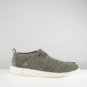 1253eac7e94b4 Details about Hey Dude WALLY KNIT Mens Textile Moccasin Boat Deck Casual  Lace Up Shoes Sage