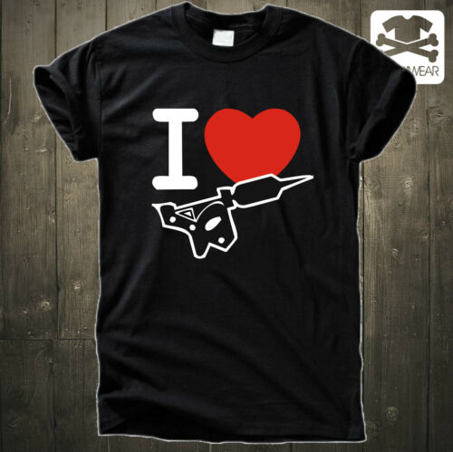 I LOVE TATTOOKULTROCKABILLYMETAL MASCHINE FAN FUN SHIRT HEART