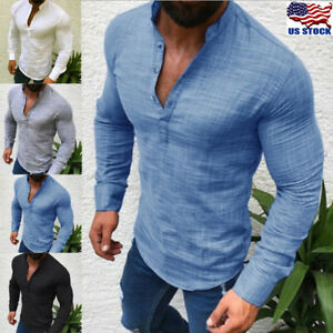 Fashion-Mens-T-Shirt-Long-Sleeve-Linen-Shirts-Casual-Breathable-Soft-V-Neck-Tops