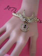 "BETSEY JOHNSON VINTAGE ""ICONIC LOVE BIRD"" BIRD & LOCK STRETCH BRACELET~RARE"