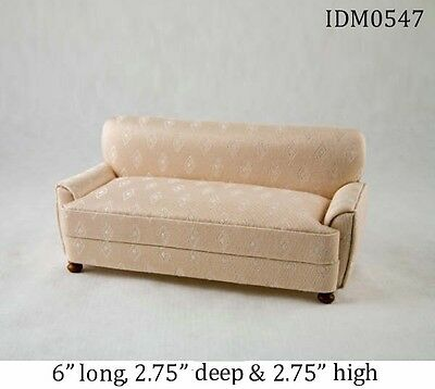 MODERN SOFA CREAM SILK LIVING ROOM DOLLHOUSE MINIATURES 1:12 SCALE