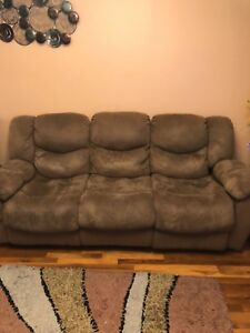 Used Reclining Sofa And Loveseat Microfiber Material Brown Color