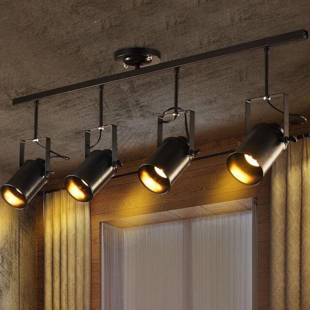 Vintage Ceiling Lamp 4 Lights Edison Track Lighting Spotlight Fixture