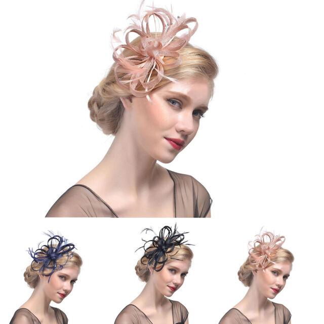 Ladies Womens Elegant Sinamay Flower Feather Headband Fascinator Hair Band G9C