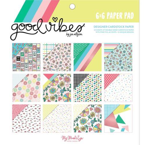 "12 Diseños//2 cada uno Good Vibes My Mind/'s Eye de doble cara Papel Pad 6/""x6/"" 24//pkg"