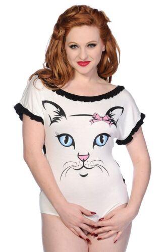 Banned Body White Cat Rockabilly Vintage Katze Top Shirt Underwear #3152 608