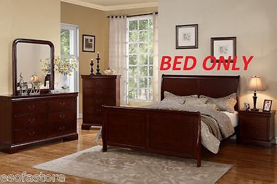 Modern Cherry Queen Size Bed Curved Frame Bedroom Furniture | eBay