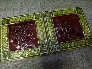 Antique-old-Victorian-relief-pottery-ceramic-pottery-treacle-glaze-tile-2-Pair